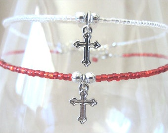 Colored Seed Bead Anklet, Glass Beaded Anklet w/Cross Charm, Christian Jewelry, Ankle Bracelet, Christian Anklet, Handmade Beaded Jewelry