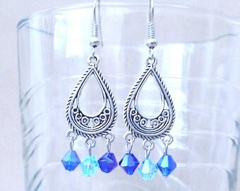 Blue Swarovski Crystal & Silver Filigree Teardrop Chandelier Earrings, Handmade Original Fashion Jewelry, Elegant Sophisticated Exotic Gift