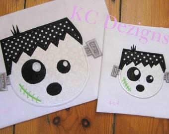 Frankenstein Ghost Face Machine Applique Embroidery Design - 4x4, 5x7 & 6x8