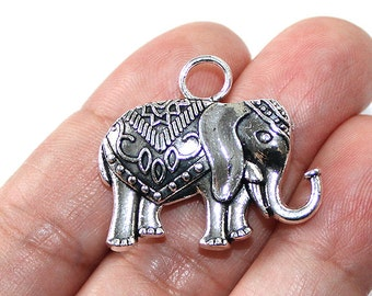 2 Large Elephants Charms Antique Silver Tone 2 sided - CH709