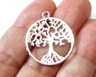 3 Tree of Life Charms Silver Plated 2 Sided - SPC123