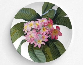 "Pink Plumeria Plate, Melamine Plate, Vintage floral Illustration, decorative plate, Dinner Plate, 10"" plate, Plumeria design"