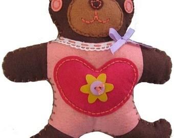 Brown Bear Toy Felt Craft Kit - Make Your Own - Gift Set - Children Sew