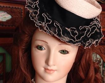 1940 Fascinator Doll Hat Pink & Black