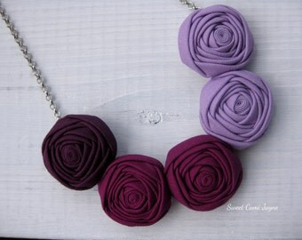 Ombré Fabric Necklace Handmade Necklace Rosette Necklace Bib Necklace Statement Necklace Colorful Necklace Unique Necklace Bridesmaid