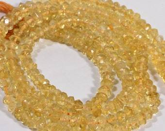 "Citrine Beads 4.8x3mm  7"" inch Strand Faceted Natural Gemstone Beads Jewelry Making Supplies"