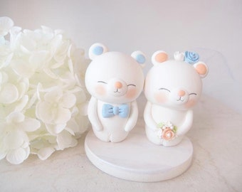 Love Wedding Cake Toppers - white bear with base