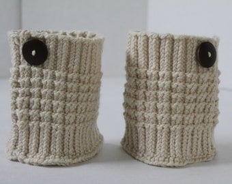 CLEARANCE SALE - Knit Boot Cuff - Cream - Hand Knit Boot Cuffs with Button - Leg Warmer Boot Toppers - Boot Socks