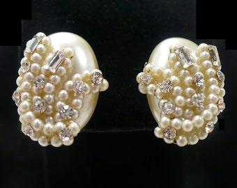 White Pearl & Clear Rhinestone Earrings, White Bridal Earrings, White  Pearl Earrings, Ear Climbers, Graduation Gift for Her