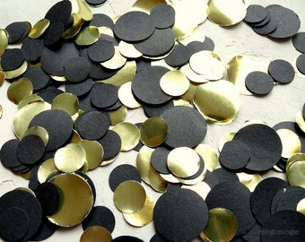 Black and Gold Confetti 250 Paper Circles