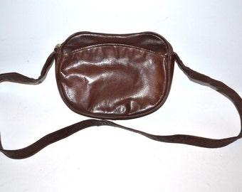 80s Perlina New York  brown leather  Satchel messenger shoulder crossbody  bag