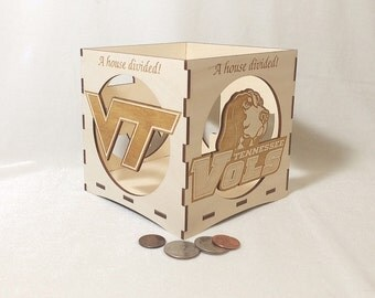 A House Divided-Tennessee/Virginia Tech engraved candle holder-Unfinished wooden candle box-gift box-centerpiece-college candle holder