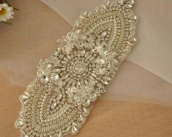 3D Rhinestone Applique Bridal, Crystal Beaded Wedding Belt Applique, Bridal Sash Applique