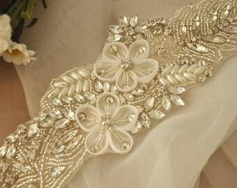 3D Rhinestone applique,crystal bridal Sash applique, Bridal Applique, wedding applique, pearl beaded applique, wedding belt