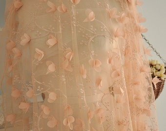3D lace fabric in nude color for special design wedding gown, bridal dress, fabric by yard