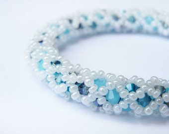 Beaded Bangle Bracelet in shades of Blue