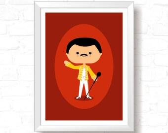 Freddie - Printable Original Illustration, Instant Download, Home Decor, Wall Art, T-shirt graphic, Art Print, Poster Design