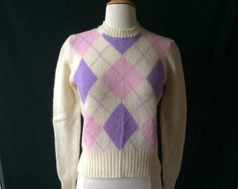Vintage Purple Argyle Wool Sweater