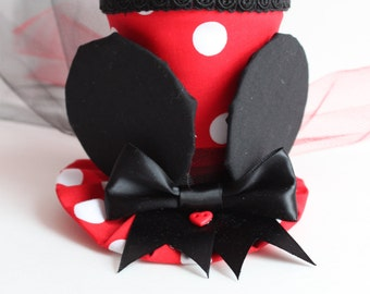 Minnie Mouse Inspired Top Hat - Party hat - Minnie top Hat - Red and White Polka Dot Hat