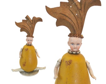 assemblage art, mixed media original, art doll ornament, plump, pear shaped, wooden fruit,  by Elizabeth Rosen
