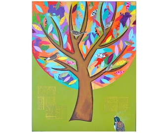 Birds in a Tree, collage wall art, 16x20, original canvas painting, woodland nursery art, bird art artwork by Elizabeth Rosen