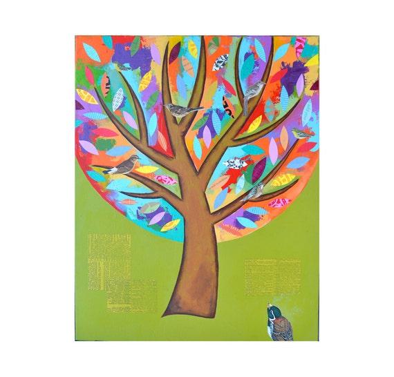 Birds in a Tree, collage wall art, 16x20, original canvas painting, woodland nursery art, bird art artwork by Elizabeth Rosen