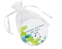 Personalised wedding favour magnet  -  20 'Tropical' custom magnet wedding favor bomboniere