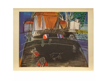 "Vintage Color Print of ""Bullfight"" By Raoul Dufy - 1954"