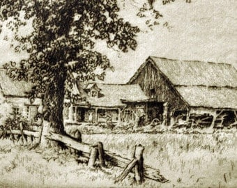 Rural America - 1950s Etching by Frederick Robbins - Archie's and Lutie's Place - Rural Farm Artwork for Home Decor - Rustic Landscape Art