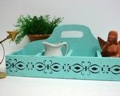 Turquoise Wood Tote Box / Craft Storage / Organizer