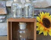 Vintage Wood Crate & Spice Bottles / Rustic Home Decor / Bless Our Home