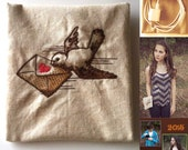 Bird with Love Letter Embroidered on Oatmeal Cotton Fabric, Vintage Inspired, Small Pouch with Red Lining