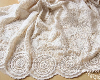 retro tulle lace fabric with round patterns, embroidered mesh lace by the yard, bridal lace fabric, lace curtain fabric
