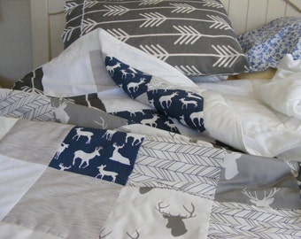 Crib Bedding Baby Bedding  Nursery  Woodland Deer Tan Navy Grey