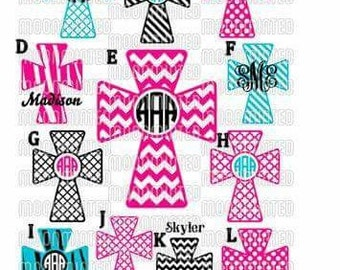 Monogrammed Cross Decal /RTIC YETI