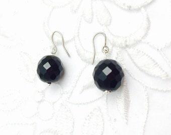 Black Crystal Earrings, Vintage Silver Tone Dangling Round, Summer Sale, Item No. B514