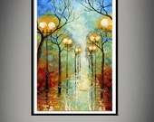 Wall Art Rainy Day Landscape Giclee Large PRINT on Canvas from original oil painting Gift Modern Home Decor Wall Art Painting