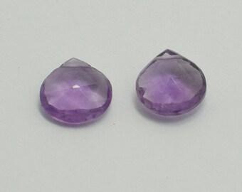 Medium Purple Amethyst Heart Briolettes, Matching Pair Amethyst Briolette Faceted Flat Drops, 8x8 mm, 1 Pair, 2 Beads, Destash #179
