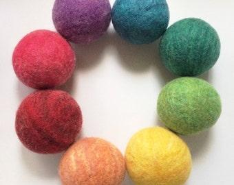 Natural 100% wool baby and toddler toys, Waldorf & Montessori inspired set of 8 rainbow wool balls