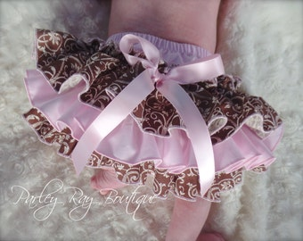 Beautiful Parley Ray Boutique Brown Damask and Pink Ruffled Baby Bloomers Pageant / Diaper Cover / Photo Props