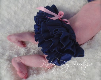 Beautiful Parley Ray Navy Blue Ruffled Diaper Cover/ Baby Bloomers/ Photo Prop