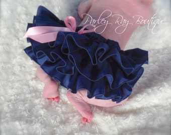 Beautiful Parley Ray Navy Blue with Pink Bow Ruffled Diaper Cover/ Baby Bloomers/ Photo Prop