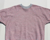 Vintage Sweater Tee Striped T-shirt grey red sweatshirt tshirt- pinstripe stripe pastel striped - retro-grunge-casual-Medium Unisex
