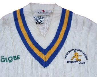 Vintage Cricket Jumper- Chunky Knit Cream Sweater- Sport -Mens Clothing -The Oval -Wool Large Jumper- West Bridgford Legion Cricket Club