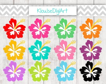 Tropical Hibiscus Flowers Digital Clipart Graphics for Personal and Small Commercial Use (C016)