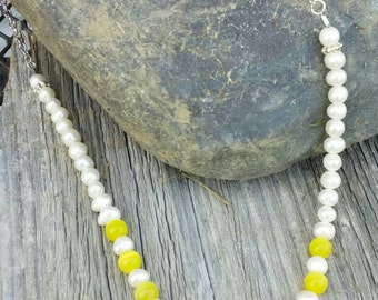 Beautiful Lemon Jasper with pearl beads