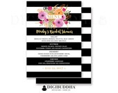 BRIDAL SHOWER MENU Wedding Menu Baby Shower Menu Reception Menu Rehearsal Dinner Menu Bar Menu Black Stripe Watercolor DiY or Printed - Mady