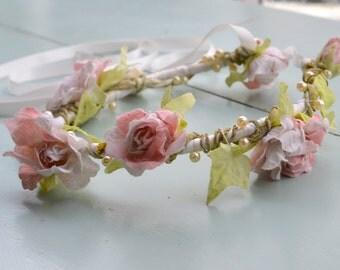 Stunning bridesmaid / flower girl / festival floral headband garland
