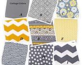 FREE SHIPPING*** Crib Bedding,Yellow and Gray CUSTOM, Crib Blanket, Crib Skirt, and Fitted Sheet-
