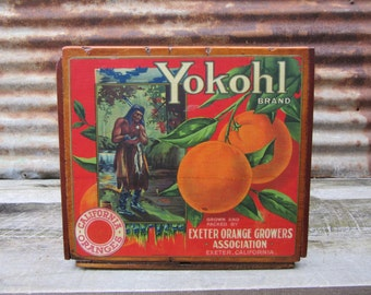 Antique Wood Crate Refinished Yokohl California Oranges Paper Label Delivery Crate Exeter Growers Wooden Storage Lacquered Wood Box Vintage